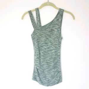 Express marled knit double strap tank top